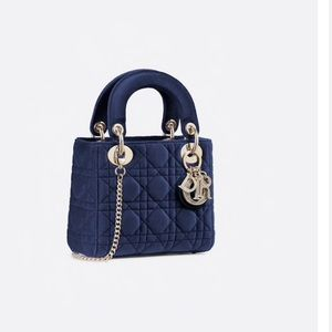 Mini Blue Lady Dior Velvet Bag